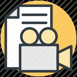 cinematography, file, multimedia archive, video camera, video file icon