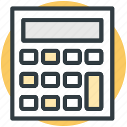 accounting, calculating device, calculator, digital calculator, math icon