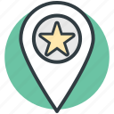 location marker, gps, map pin, star sign, popular place