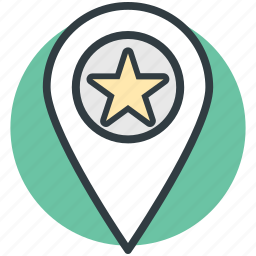 gps, location marker, map pin, popular place, star sign icon