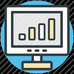 business presentation, graph chart, monitor screen, presentation, statistics icon