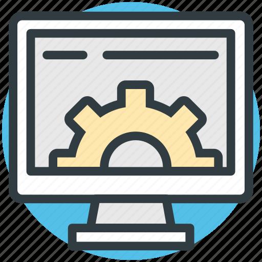 computer screen, hardware service, screen gear, seo, technical support icon