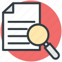 document, list, lupe document, magnifier, search document icon