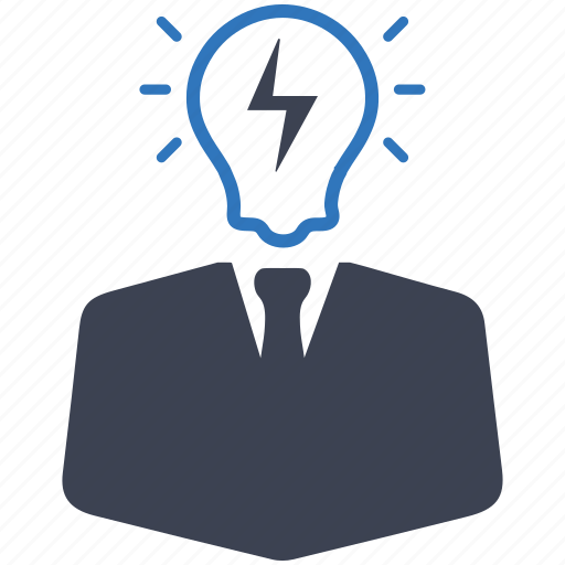brainstorming, businessman, creative, creative services, idea, intelligent, light bulb icon