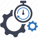 gear, internet, optimization, performance, search engine, seo, stopwatch icon