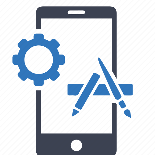 app, application, development, gear, media, mobile, phone icon