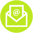 at sign, email, envelope, letter, message, opened, seo icon