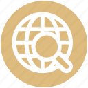 earth, globe, internet, magnifier, searching, seo, world icon