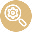 cogwheel, magnifier, search, seo, setting, setup, zoom icon