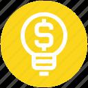 bulb, business, creativity, dollar, idea, light, money