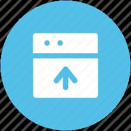 arrow, indicator, up sign, upload, uploading, upward, web screen icon