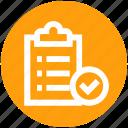 accept, checklist, checkmark, clipboard, document, seo, success