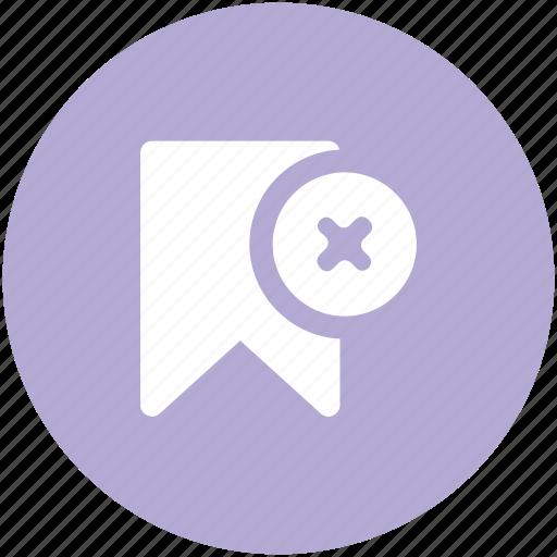 bookmark, cancel bookmark, cancel favourite, cross sign, ribbon icon