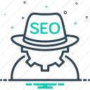 blackhat, cogwheel, costume, development, seo, seo blackhat, technical icon
