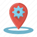 cogwheel, optimization, place, place optimization icon