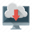 arrow, cloud, data, down, download, file, seo icon