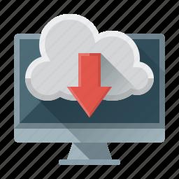 arrow, cloud, data, down, download, file, seo icon