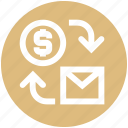 dollar, email, email marketing, money, seo, seo letter icon