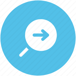 arrow, magnifier, magnifying, right arrow, right signals, search right icon