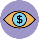 business, dollar sign, earning, ecommerce, eye, seo, view icon