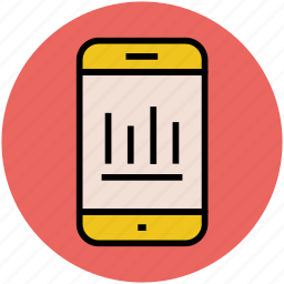 commerce, dashboard, graph on mobile, marketing, marketing analysis, trading icon