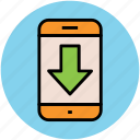 data transmission, download, mobile arrow, save file, transfer data icon