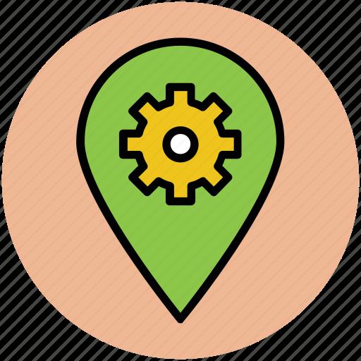 cog, cogwheel, location setting, map pin, map setting, pin setting, settings icon