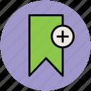 add bookmark, add to bookmark, bookmark, favourite, plus sign icon