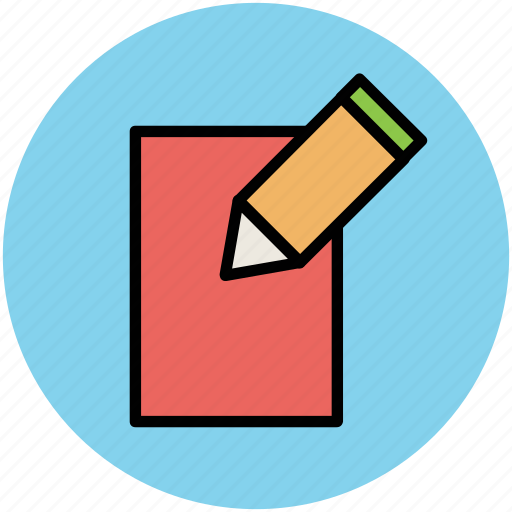 notebook, pencil, text sheet, write, writing, writing sheet icon