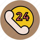 customer service, customer support, help center, helpline, phone line, twenty four hours icon