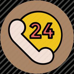 customer service, customer support, help center, helpline, phone line, twenty four hours icon