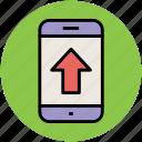 arrow, mobile, up arrow, upload, upload arrow icon