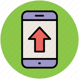arrow, mobile, up arrow, upload, upload arrow icon