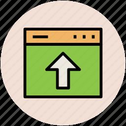 arrow, up arrow, uploading, uploading file, web page, website icon
