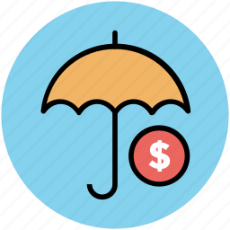 dollar sign, money safety, parasol, protection, safe investment, ssl protection, umbrella icon