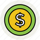 cash, currency coin, dollar coin, finance, money, wealth icon