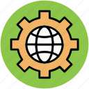 gear, globe, globe gear, optimization, seo, world in gear, worldwide gear icon