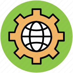gear, globe, globe gear, optimization, seo, world in gear, worldwide gear icon