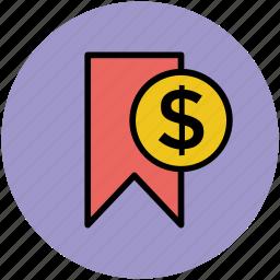 add bookmark, bookmark, dollar sign, favourite icon