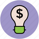 bulb, business, creative campaigns, dollar sign, idea icon