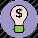 bulb, business, creative campaigns, dollar sign, idea icon
