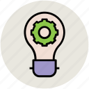 bulb gear, cog, cogwheel, optimization, settings icon