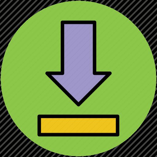 down arrow, download, download arrow, downloading tray, save file icon