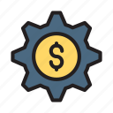 configure, dollar, gear, preference, setting icon