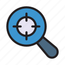 find, focus, magnifier, search, target icon