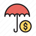 dollar, insurance, money, protection, umbrella icon