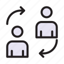 avatar, employee, replace, transfer, user icon