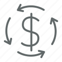 business, conversion, currency, dollar, finance, money, return icon