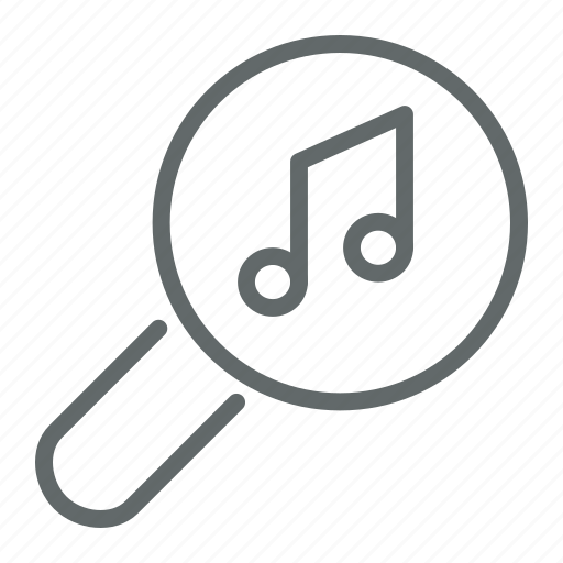 Audio, glass, magnifier, magnifying, music, search, song icon - Download on Iconfinder