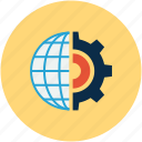 development, development concept, glob and gear, globe gear icon